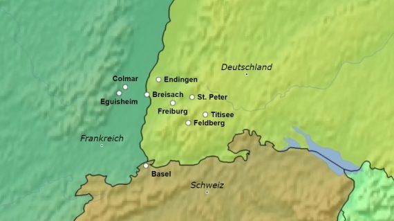 Karte Dreiländereck