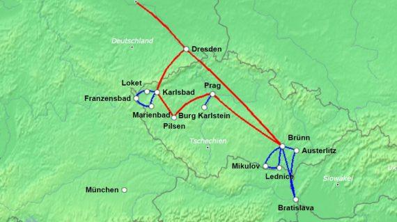 Karte Kuturschätze Tschechiens
